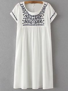 Dresses For Women Trendy Fashion Style Online Shopping Day Dresses, Casual Dresses, Long Dresses, Casual Wear, Floral Embroidery Dress, Short Sleeve Dresses, Dresses With Sleeves, Straight Dress, 1960s Fashion