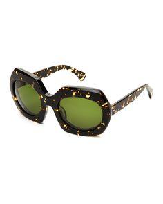 Steven Alan Tribeca Tortoiseshell-Look Montague XL Angular Sunglasses