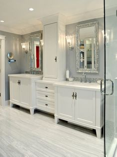 Small Jack And Jill Bathroom Remodel master bath idea white walls cream colored counters and his and