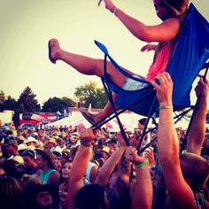 crowd surfin'. #concerttickets #concerts ***** I'm too chicken some drunk will drop me and hurt my back and make it even worse!