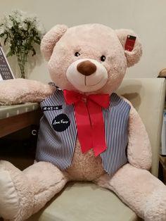 Teddy bear waistcoat, handmade, embroidered personal details