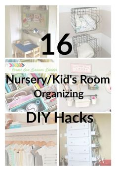 Taking too long cleaning up Baby and Kid's clutter? Try these 16 Nursery/Kid's Room Organizing DIY Hacks to organize and keep your home decluttered. Find some nursery organizing ideas to save time.