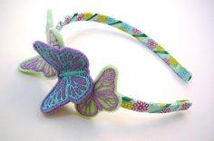Butterflies Headband in Purple Turquoise Green  by threetinytucks, $18.75