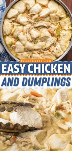 Need a quick and easy chicken dinner? This main dish can be on the table in 30 minutes! Cooked with vegetables in a creamy soup base, this stovetop Chicken and Dumplings recipe is comfort food in a bowl. Save this pin! Quick Chicken And Dumplings, Easy Family Meals, Family Recipes, Food Dishes, Main Dishes, Easy Main Dish Recipes, Stove Top Chicken, Dumpling Recipe, Dinner