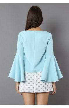 Serene Blue Top with Bell Sleeves - Retro, Indie and Unique Fashion