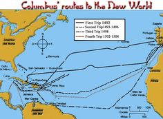 bij les 1; kaart van Columbus' routes to the new world