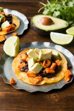 Vegetarian Sweet Potato Tostadas Use rice tortillas instead