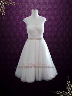 Vintage Inspired Tea Length Illusion Neck Tull Wedding Dress | Ieie's Bridal Wedding Dress Boutique