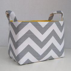Storage Basket Organizer Container Basket Bin - Gray White Chevron Zigzag Yellow Lining Fabric. $18.00, via Etsy.