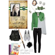 Harper Grace Malfoy: Slytherin. by barelegged on Polyvore.  Love the green sweater.