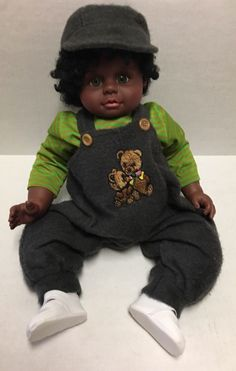 African American Baby Doll Boy Heritage Mint Pellets Green Eyes Curly Black Hair #HeritageMint #DollswithClothingAccessories