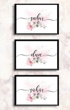 Art image Sabir, South Kür, Dua (Sabr-Shukr-Dua)   3-piece set in sizes 13 x 18 cm, A4 or A3 format. (High resolution)  Modern Islamic murals for decorating your rooms.  Picture as shown in Shades. The monitor settings can make the colors slightly different.  Please note:  This is a