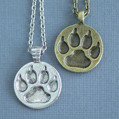 Wolf Paw Print Necklace, Animal Track Jewelry, Paw Print Necklace, Paw Medallion Charm, Vintage Bronze or Silver Werewolf Wildlife Charm