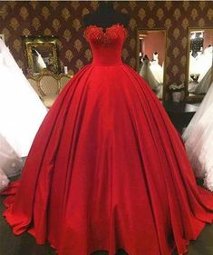 Lace Beaded Prom Dress, Red Sweetheart Prom Dress, A line Satin Prom Dress