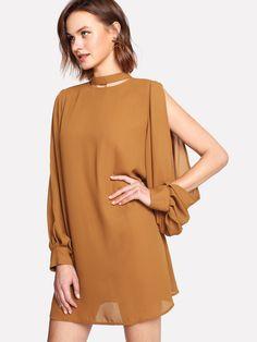 Choker Neck Split Sleeve Dress -SheIn(Sheinside)