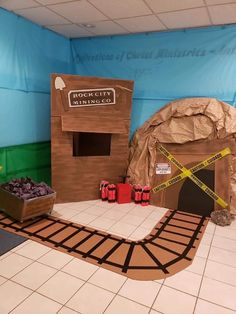 PreK activity - collect coal for the train Train Crafts, Vbs Crafts, Trains Birthday Party, Train Party, Thomas Birthday, Cardboard Train, Cardboard Playhouse, Polar Express Christmas Party, Halloween Train