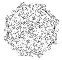 Mandalas Para Pintar: Mandala floral con personaje