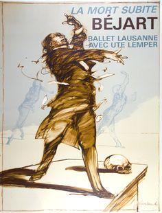 La Mort Subite Béjart / Weisbuch France - c. 1980 /  47 x 63 in (119 x 160 cm) / Unexpected Death  Béjart  Lausanne ballet with Ute Lemper