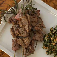 Joanne Weir: Grilled Lamb Skewers with Almond Salsa Verde - Delish.com