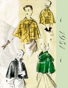 1950s 50s Vintage Sewing Pattern Cape Shawl Evening or Day style no. 8645 Bust…