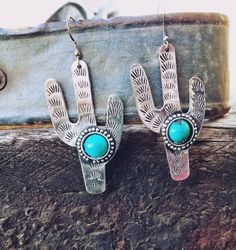 Cowgirl Gypsy CACTUS DESERT EARRINGS Faux Turquoise Southwestern Silver tone  #Unbranded #earrings