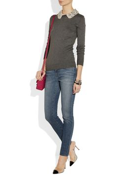 Milly|Embellished-collar jersey sweater|NET-A-PORTER.COM