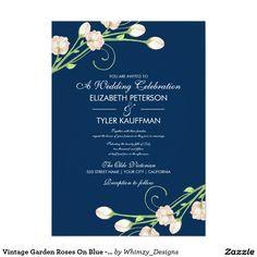 "Vintage Garden Roses On Blue - Wedding Invitations 5"" X 7"" Invitation Card"