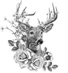 Elizabeth and Isabella Elizabeth und Isabella Deer Skull Tattoos, Deer Skulls, Leg Tattoos, Flower Tattoos, Body Art Tattoos, Small Tattoos, Sleeve Tattoos, Hunting Tattoos, Hirsch Tattoo Frau