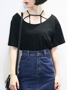 Black,Strappy,Short Sleeve,Loose,T-shirt