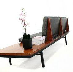 Robin Day; Teak and Enameled Steel 'Form' Sofa System for Hille, 1960.