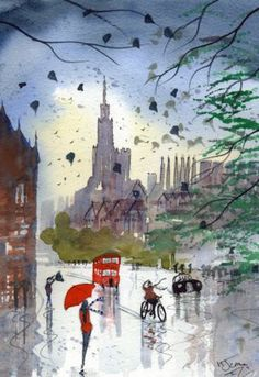 Original Signed Watercolour Painting ~ Rainy Day Oxford BY KJ CARR