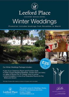 Leeford Place Hotel - Wedding Venue  WINTER WEDDING OFFER www.leefordplace.co.uk Facebook/Twitter @Leeford Place Hotel  #LeefordPlace #LeefordPlaceHotel Perfect Wedding, Our Wedding, Buck's Fizz, Hotel Wedding Venues, Country House Hotels, Wedding Breakfast, Facebook, Twitter, Places