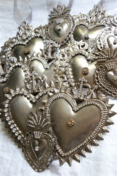 Ex voto hand decorated hearts.  Christmas ornaments by mysweetmaison on Etsy.