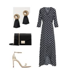 Summer Event Outfits with Wrap Maxi Dresses. Black polka-dot print wrap maxi dress+gold ankle strap heeled sandals+black and gold tassel earrings+black and gold clutch. Summer Evening Semi Formal Event/ Wedding Guest Outfit 2018