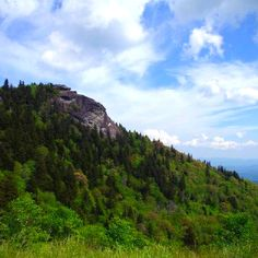 Devil's Courthouse Mountain in Highlands, NC (as viewed from parking area).  Legend claims the devil holds court within a cave inside this mountain. In Cherokee lore, this cave is the private dancing chamber and dwelling place of the slant-eyed giant, Judaculla. (Blue Ridge Parkway mile marker 422.4)