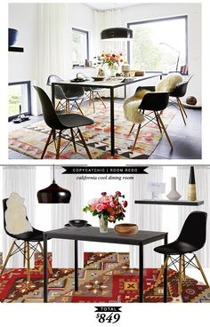 A Cool California Style Dining Room recreated for only $849! #CopyCatChicRoomRedo by @lindseyboyer