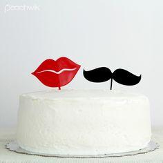 Mr & Mrs Wedding Cake Topper Set by Peachwik