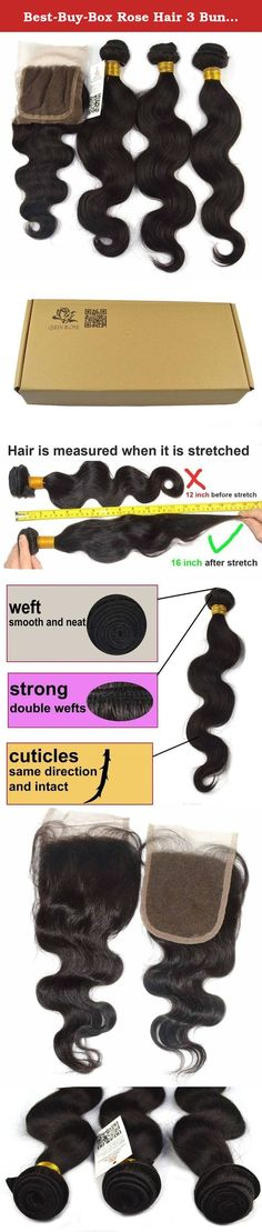 """Best-Buy-Box Rose Hair 3 Bundle Hair Extension + 1 Closure Body Wave; A+ Virgin Remy Weft Weaving Brazilian Hair; 12""""-30"""" 300g Hair; 35g 12"""" Closure; Natural Black 1B (12 12 12 + 8). Are you looking for high quality hair extensions? You are now making right decision to shop with us! This is 100% 5A TRUE virgin remy human hair extensions with Smooth, Bouncy, Tangle Free, and Long Lasting Queen Rose Hair is sold by Best Buy Box only! Human Hair Can Be Treated As If They Were Your Own Hair..."""