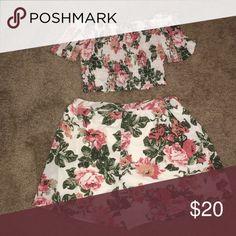Two piece romper set Off white floral Fashion Nova Dresses