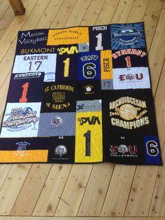 T-shirt quilt, mosaic style. Volleyball t-shirt quilt