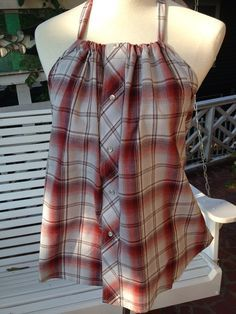 Men's shirt refashion/$48.00 on Etsy...thinking I could recreate this with wide ribbon ties and a hawaiian print shirt I have hanging in my closet waiting for the light bulb to go off!!
