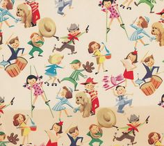 This is actually giftwrap from the 1950's. From Vintage Children's Gift Wrap by hmdavid, via Flickr