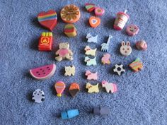 Vintage-Mini-Eraser-Erasers-Collection-80s-90s-Animals-Fast-Food-Animals-LOT-24