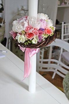 lumanare de nunta cu buchet de bujori Christening Cake Girls, Church Flowers, Baptisms, Girl Cakes, Wedding Flowers, Easter, Weddings, Diy, Do It Yourself