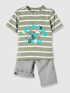 Boy's T-shirt & Bermuda shorts set Green stripe / stonewashed+Grey marl / green print+Ink / blue check+Khaki stripe / taupe