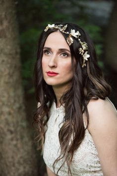 Idea for photo shoot on a nature, hairpiece, boho style, red lip, natural makeup, lace dress