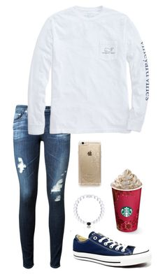 """I won't give up on us even if the skies get rough"" by toonceyb ❤ liked on Polyvore featuring AG Adriano Goldschmied, Vineyard Vines, Converse and Rifle Paper Co"