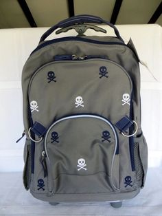 f4d9eaa9af5f Pottery Barn Kids FAIRFAX Rolling Embroidered Gray Skull Rolling Backpack  NEW  fashion  clothing  shoes  accessories  kidsclothingshoesaccs   boysaccessories ...