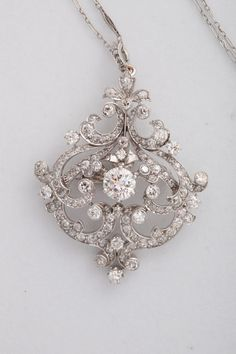 Black Starr and Frost Belle Epoque Diamond Pendant Brooch Platinum on gold diamond pendant featuring a center stone and another in the pendant. I Love Jewelry, Fine Jewelry, Jewelry Design, Women Jewelry, Antique Jewelry, Silver Jewelry, Vintage Jewelry, Diamond Pendant, Diamond Brooch