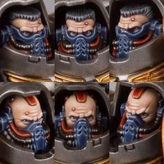 Aggressors faces #armypainters #warhammer40000 #wargames #ironravens #goldendemon #primaris #spacemarines #aggressors #painting #paintingwarhammer #eavymetal